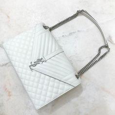 White Saint Laurent Monogramme chain bag | pinterest: @Blancazh