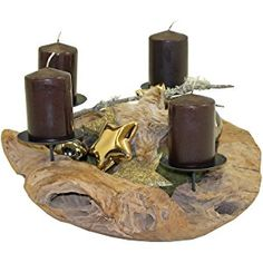 Trendy-Home24 Teak Adventskranz Ø 50 cm Weihnachtsdekoration Kerzenpicks Holzschale Holzkranz