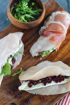 Prosciutto Wrapped Cranberry, Arugula, & Brie Stuffed Chicken Breasts | StrictlyDelicious.com