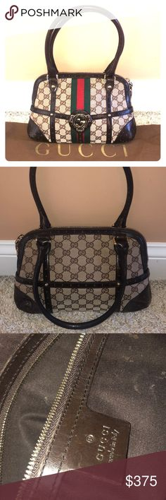 801223e6ce46 Vintage Gucci Bag Cute women's Gucci bag with dark brown leather and  traditional Gucci pattern! Very gently used and done with Gucci dust bag!