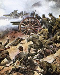 World War I ' THE ITALIAN ARTILLERY IN BATTLE OF PIAVE ' Fight between the Italian and AustroGerman troops in the course of the river Piave the...