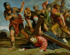 """""""The Way to Calvary,"""" Domenichino, about 1610. Oil on copper. J. Paul Getty Museum, Los Angeles, California   The cross pins Christ to the ground under its weight as he struggles on the way to his Crucifixion. With his mouth parted as if to speak, Christ looks sorrowfully out at the viewer. The large figures and compressed composition enhance the sense of his oppression under the massive cross and the cruelty of his tormentors."""