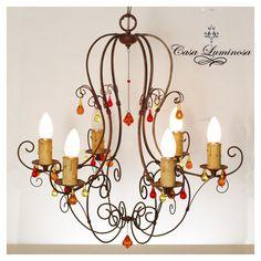 Casa luminosa Araña de 6 luces en hierro & alambre