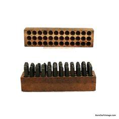 1920s Steel Punch Set, Antique Tool Letters BarnOwlVintage.com