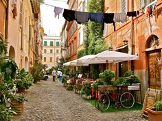 Trastevere Rome- We were here in Sept. 2012 and I am not kidding when I say that I am pretty sure this is the street we stayed on in Rome's Trastevere