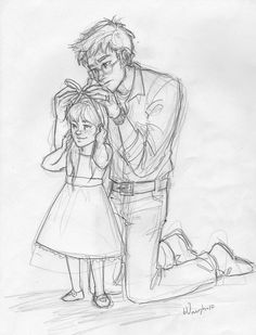 harry potter and lily potter (c) jk rowling daddy's girl Harry Potter Drawings, Harry Potter Fan Art, Harry Potter Universal, Harry Et Ginny, Art Sketches, Art Drawings, Gina Weasley, Desenhos Harry Potter, Harry Potter Next Generation