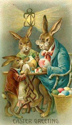 Vintage Easter Bunnies Postcard:
