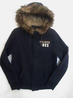 Hollister 1922 Women's Blue Hoodie/Jacket/Coat/Lined Sweatshirt Fun Fur-Size-XL #Hollister #BasicJacket
