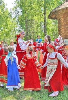Russian girls in traditional costumes dancing at the folk festival. #kids