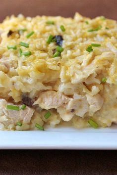 Mamaw's Chicken and Rice Casserole – Comfort Food - Chicken Recipes Pot Luck, Casserole Dishes, Casserole Recipes, Casseroles With Rice, Chicken Cheese Rice Casserole, Chicken Rice Bake, Onion Chicken, Hamburger Casserole, Cheese Soup