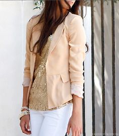 White denim, gold bracelets and glitter top, light salmon jacket... nice neutrals working together