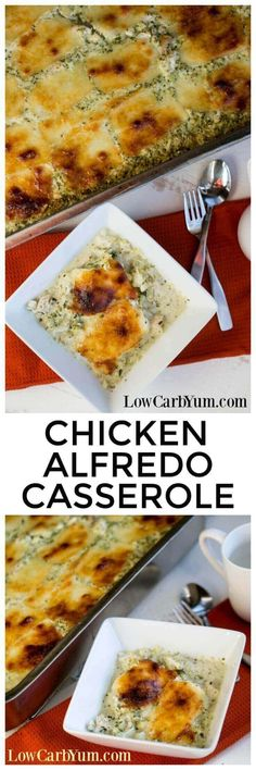 Need to feed a crowd or looking to make extra to freeze for later? You'll get plenty of servings in this super sized chicken Alfredo casserole recipe. | LowCarbYum.com