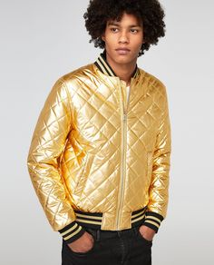 Image 2 of GOLD QUILTED BOMBER JACKET from Zara