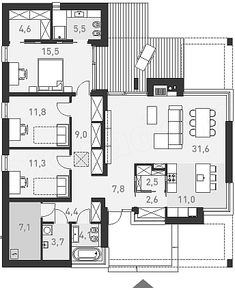 One-story house design 2 - construction cost - EXTRADOM Affordable Prefab Homes, Bungalow, Construction Cost, One Story Homes, Dream House Plans, Story House, Home Fashion, Future House, Deco