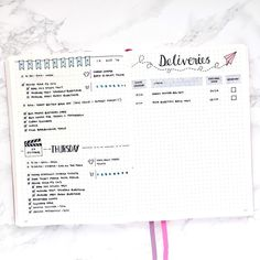 Deliveries page for Bullet journal by @plantosucceed