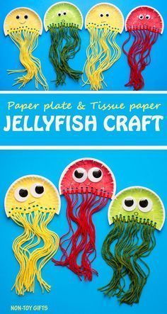 Paper plate jellyfish craft for kids. It uses tissue paper and yarn. Great ocean craft for preschoolers and kindergartners.   at Non-Toy Gifts #ArtAndCraftCreative