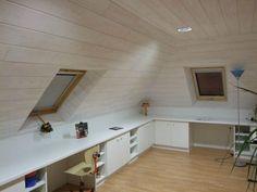 a8c745b953012c835591952a2bc8d158 Loft Design, Home Office Design, House Design, Attic Spaces, Tiny Spaces, Attic Bedrooms, Home Bedroom, Loft Storage, Attic Conversion