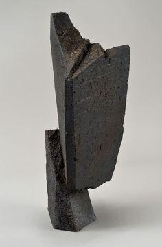 black - sculpture - Jonathan Cross-  Shift I -  Black stoneware, wood fired