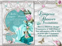 Lingerie Shower InvitationPersonal Shower by BellaLuElla on Etsy