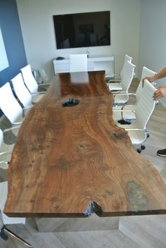 Conference table power module act 2 power 1 open telecom plate custom 12 claro walnut slab conference table hardwood reclaiming and salvaging keyboard keysfo Images