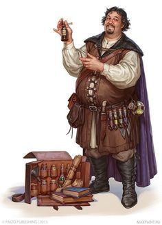 m npc Merchant of Potions traveler urban city road story Male Human Alchemist Merchant - Pathfinder PFRPG DND D&D Fantasy Grounds Dungeons And Dragons Art, Dungeons And Dragons Characters, Dnd Characters, Fantasy Characters, Fantasy Character Design, Character Creation, Game Character, Character Concept, Animation Character