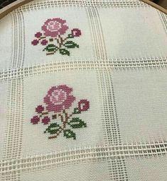 Cross-Stitch flowers stitch with purple and green colors. Cross Stitch Borders, Cross Stitch Flowers, Cross Stitch Designs, Cross Stitching, Cross Stitch Patterns, Embroidery Stitches, Embroidery Patterns, Hand Embroidery, Beading Patterns
