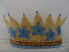 Yellow and Blue Flower Waldorf crown by SusannaW on Etsy, $70.00