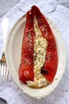 Pepper with goat cheese.