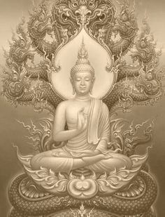 Buddha & Nāga ☸️ Naga deva protects Buddha from the rain. Buddha Tattoo Design, Buddha Tattoos, Buddha Drawing, Buddha Painting, Tattoo Buddhist, Buddhist Art, Buddha Zen, Buddha Buddhism, Yoga Studio Design