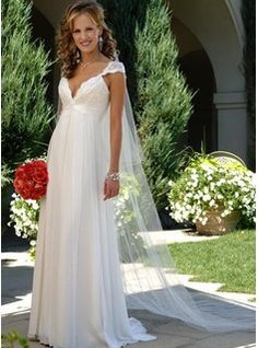 Empire V-neck Sweep Train Chiffon  Charmeuse Wedding Dresses With Ruffle  Lace  Beadwork (002006371)