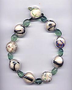 "Marianne Kohler - ""Necklace,"" glass, wool, wire, semi-precious stones"