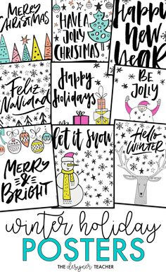 Decorate your classroom for the holidays with these printable posters! Includes 20 festive posters with both Christmas and secular sayings. #classroom #christmas