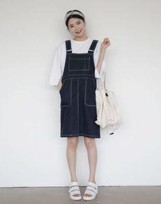 Dress Up Confidence! 66girls.us Boxy Double Buttoned Pinafore Dress (DHMC) #66girls #kstyle #kfashion #koreanfashion #girlsfashion #teenagegirls #younggirlsfashion #fashionablegirls #dailyoutfit #trendylook #globalshopping