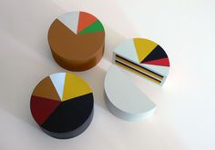 """I-cake"" by the food artist Marti Guixé, the cakes are in the form of pie charts indicating the percentage of ingredients used"