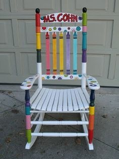decorated teacher rocking chair