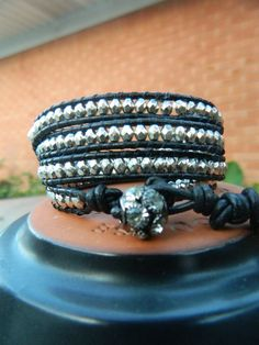 Leather Wrap Black With Pewter/Silver Beads by TheBohemianWrapsody