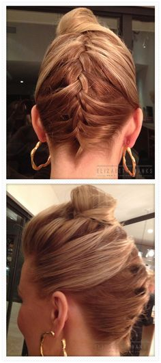 My hair in a braided French twist with a top knot (for Vanity Fair Oscar party)