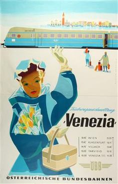 Venezia - Österreichische Bundesbahnen - 1950's - 80s Ads, Vintage Boats, Railway Posters, Bus Travel, Vintage Travel Posters, Vintage Colors, Vintage Advertisements, Fun Things, Austria
