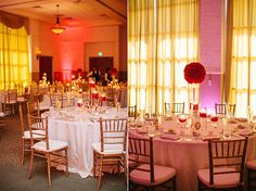 Red floral centerpieces look gorgeous with gold chiavari chairs by A Chair Affair Event Rentals Orlando.