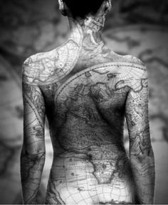 full back map tattoo this is something id want to wrap a thigh beautiful!