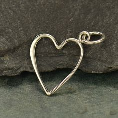 Heart Ring Keeper Pendant Sterling Silver   by carolinabeadshop