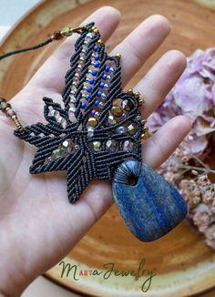 Sodalite gemstone macrame necklace leaves leaf freeform