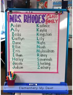 Name anchor chart - ABC order 1st Day Of School, Beginning Of The School Year, School Fun, Back To School, School Ideas, Name Activities, Classroom Activities, Classroom Organization, Classroom Ideas