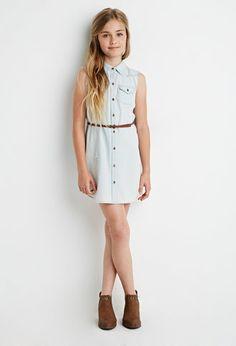 Belted Chambray Shirt Dress (Kids) | Forever 21 girls - 2000155332