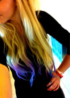 thx @Claire Mangojello now i want blue tips lolz  sick blonde color too. #hair