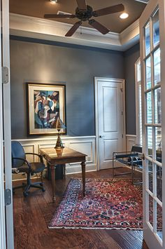 paint color--williamsburg or slate blue wood trim walls