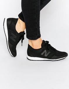 new balance black & white 420 microfiber trainers