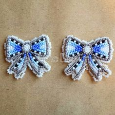 Little bows ♡ about an inch and a half across post back, $50 #beadedearrings #nativebling #bows #blue #grey #earrings #socute #beadedbows