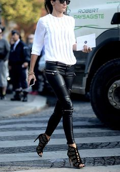 White top , black leather trousers + heels. Street spring women fashion outfit clothing style apparel @roressclothes closet ideas