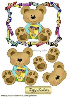 TEDDY LOVES TO DO ARTWORK WITH CRAYONS on Craftsuprint - Add To Basket!